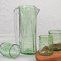 Hand-blown recycled glass pitcher and tumblers,