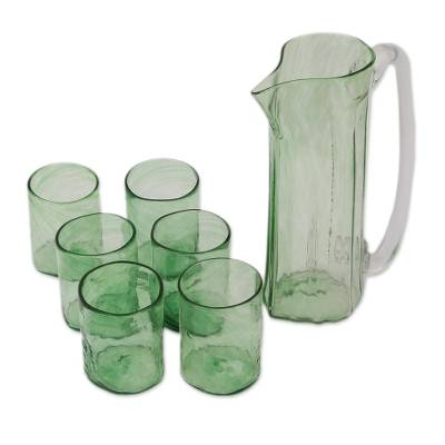 Recycled Glass Pitchers and Tumblers in Green (Set for 6)