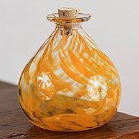 Handblown recycled glass jar, 'Orange Potion' - Handblown Recycled Glass Jar in Ornage from Mexico