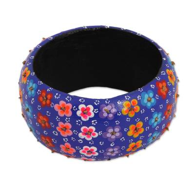 Floral Wood Bangle Bracelet in Lapis from Mexico