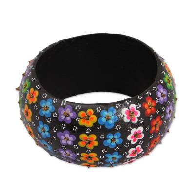 Floral Wood Bangle Bracelet in Black from Mexico