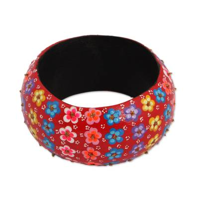 Floral Wood Bangle Bracelet in Chili from Mexico