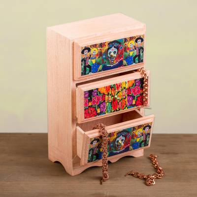 Decoupage wood jewelry chest, 'Magic and Tradition' - Day of the Dead Decoupage Wood Jewelry Chest from Mexico