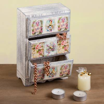 Decoupage wood jewelry chest, 'Frida Fan' - Distressed Wood Frida Kahlo Jewelry Chest from Mexico