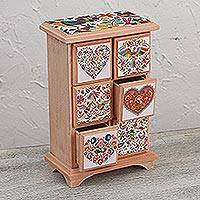 Decoupage wood jewelry chest, 'Lavish Color' - Handcrafted Decoupage Wood Jewelry Chest from Mexico