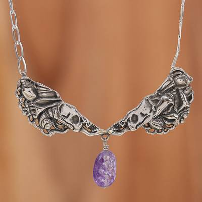 Quartz pendant necklace, 'Conch Catrina' - Purple Quartz Catrina Skull Pendant Necklace from Mexico