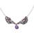 Quartz pendant necklace, 'Conch Catrina' - Purple Quartz Catrina Skull Pendant Necklace from Mexico (image 2a) thumbail
