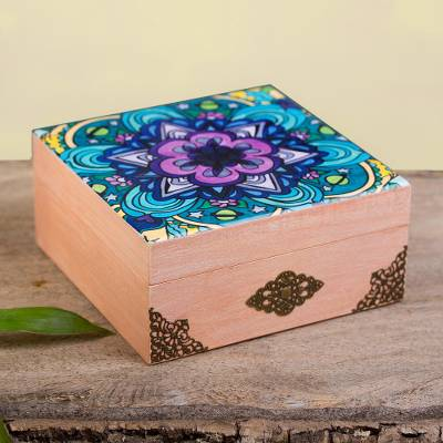 Decoupage wood decorative box, 'Cosmic Mandala' - Mandala Motif Decoupage Wood Decorative Box from Mexico