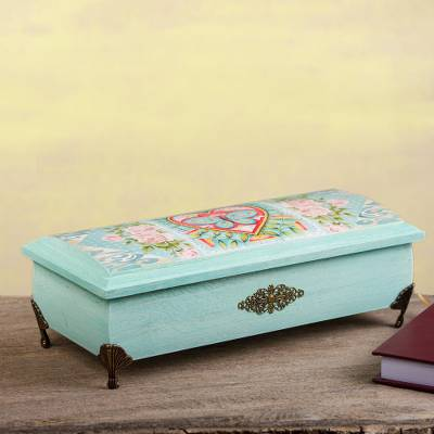 Decoupage wood decorative box, 'Butterfly Heart' - Butterfly Heart Decoupage Wood Decorative Box from Mexico