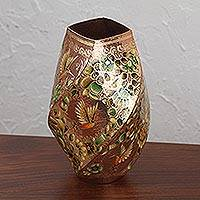 Gold accented copper vase, 'Hummingbird Dream' - Hummingbird Motif Gold Accented Copper Vase from Mexico