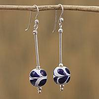 Sterling silver and ceramic dangle earrings, 'Give Life' - Hand-Painted Sterling Silver and Ceramic Earrings