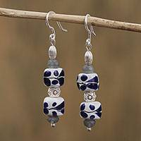 Sterling silver and ceramic dangle earrings, 'Talavera Traditions' - Talavera Ceramic Dangle Earrings with Crystal from Mexico