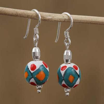 Sterling silver and ceramic dangle earrings, 'Tradition and Color' - Hand-Painted Sterling Silver and Ceramic Dangle Earrings