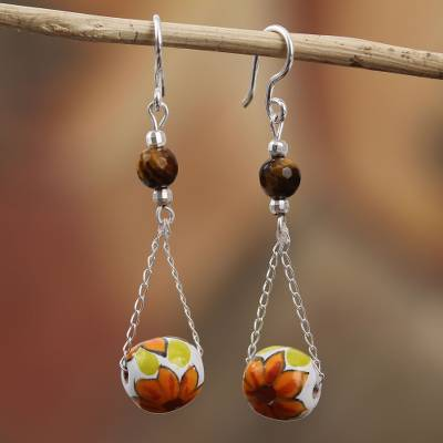 Tiger's eye and ceramic dangle earrings, 'Sunset Flowers' - Talavera Tiger's Eye and Ceramic Dangle Earrings from Mexico