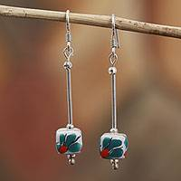 Sterling silver and ceramic dangle earrings, 'In the Light' - Talavera Sterling Silver and Ceramic Dangle Earrings