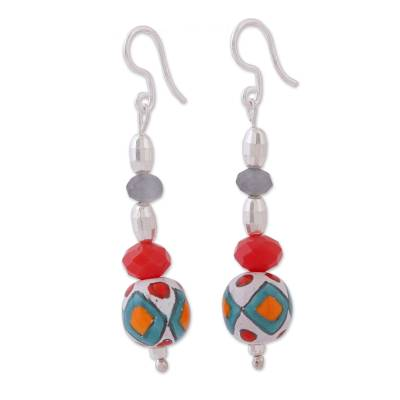 Sterling silver and ceramic dangle earrings, 'Mexican Essence' - Hand-Painted Ceramic and Crystal Dangle Earrings
