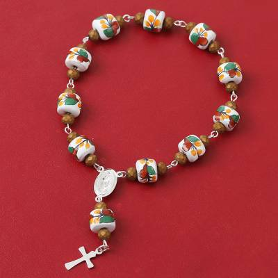 Sterling silver and ceramic rosary, 'Talavera Soul' - Sterling Silver and Ceramic Cross Rosary from Mexico