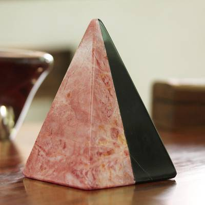 Marble sculpture, 'Pink and Black Pyramid' - Pink and Black Marble Pyramid Sculpture from Mexico