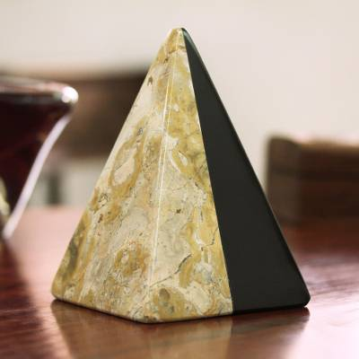 Marble sculpture, Beige and Black Pyramid
