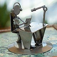 Recycled metal auto part sculpture, 'Broadcaster' - Recycled Metal Auto Part Sculpture of Seated Broadcaster