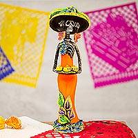 Ceramic statuette, 'Catrina with Pumpkins' - Ceramic Catrina Skeleton Statuette in Orange from Mexico