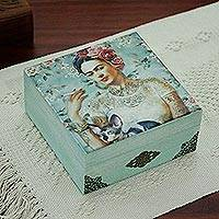 Decoupage wood decorative box, 'Frida's Beauty' - Frida-Themed Decoupage Wood Decorative Box from Mexico