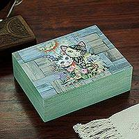 Decoupage wood decorative box, 'Floral Cats' - Cat-Themed Decoupage Wood Decorative Box from Mexico