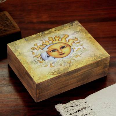 Decoupage wood decorative box, 'Eclipsing the Sun' - Sun and Moon Decoupage Wood Decorative Box from Mexico