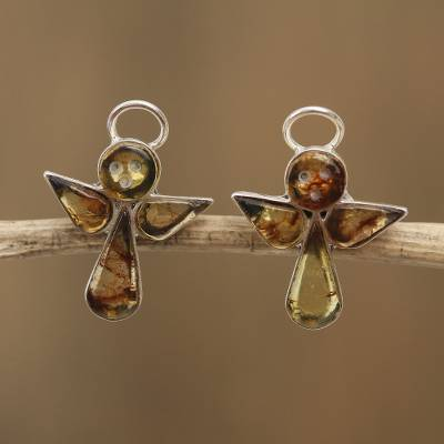 Amber button earrings, 'Ancient Angels' - Angel Amber Button Earrings Crafted in Mexico
