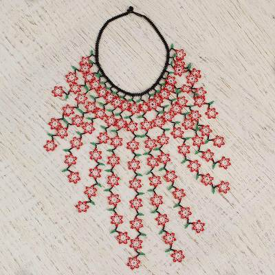Glass beaded waterfall necklace, 'Count the Ways' - Floral Glass Beaded Waterfall Necklace in Red from Mexico