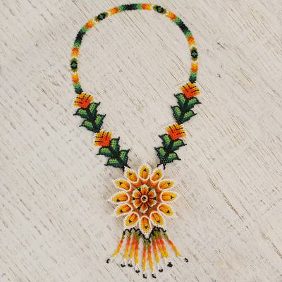 Glass beaded pendant necklace, 'Flower of Elegance' - Floral Glass Beaded Pendant Statement Necklace from Mexico