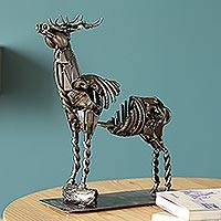 Upcycled metal tealight candle holder, 'Deer Rib' - Upcycled Metal Auto Part Deer Candle Holder from Mexico