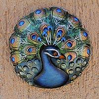 Steel wall sculpture, 'Round Peacock' - Round Peacock Steel Wall Sculpture from Mexico