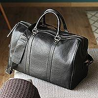 Leather travel bag, 'Ebony Traveler' - Handmade Leather Travel Bag in Ebony from Mexico