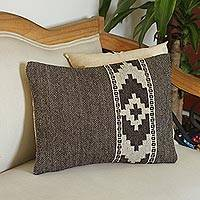 Zapotec wool cushion cover, 'Zapotec Cross' - Espresso and Ivory Zapotec Wool Cushion Cover from Mexico