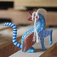 Wood alebrije sculpture, 'Mythic Cat' - Hand-Carved Wood Alebrije Cat Sculpture from Mexico