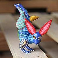 Wood alebrije sculpture, 'Rabbit Handstand' - Hand-Carved Wood Alebrije Rabbit Sculpture from Mexico