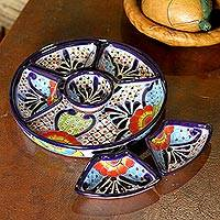Ceramic appetizer bowls, 'Festive Flowers' (7 piece) - Talavera Style Appetizer Bowl Set from Mexico (7 Piece)