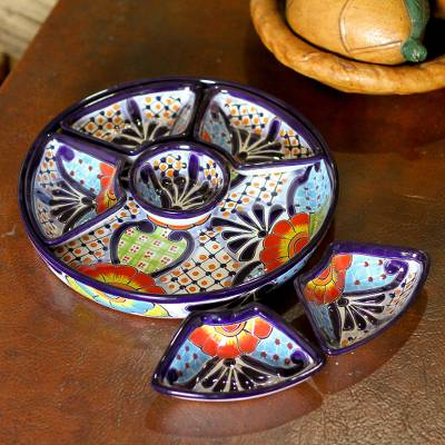 Ceramic appetizer bowls, 'Festive Flowers' (7 piece) - Talavera Ceramic Appetizer Bowl Set from Mexico (7 Piece)