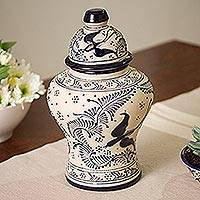 Ceramic vase, 'Talavera Urn' - Talavera Ceramic Urn-Style Vase in Blue from Mexico