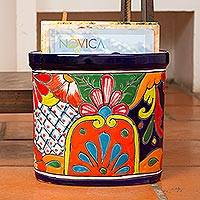 Ceramic waste bin, 'Talavera Collector' - Floral Talavera-Style Ceramic Waste Bin from Mexico