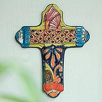 Ceramic wall cross, 'Miraculous Talavera' - Hand-Painted Talavera Ceramic Wall Cross from Mexico