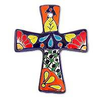 Ceramic wall cross, 'Spanish Designs' - Floral Talavera-Style Ceramic Wall Cross from Mexico