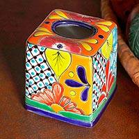 Ceramic tissue box cover, 'Folk Art Convenience' - Hand-Painted Talavera Ceramic Tissue Box Cover from Mexico