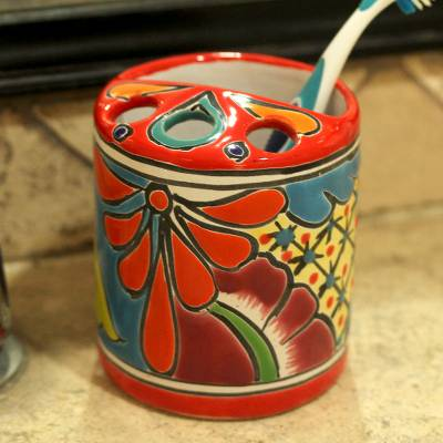 Ceramic toothbrush holder, 'Talavera Hygiene' - Round Talavera-Style Ceramic Toothbrush Holder from Mexico