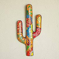 Ceramic wall sculpture, 'Talavera Saguaro' - Hand-Painted Cactus Talavera Ceramic Wall Sculpture