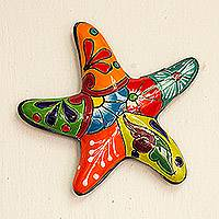 Ceramic wall sculpture, 'Hacienda Starfish' - Talavera-Style Ceramic Starfish Wall Sculpture from Mexico