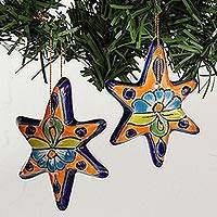 Ceramic ornament, 'Talavera Stars' (set of 4) - Talavera Ceramic Star Ornaments Crafted in Mexico (Set of 4)