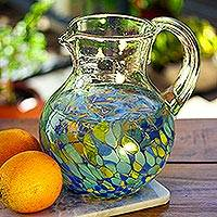 Recycled glass pitcher, 'Tropical Confetti' - Colorful Recycled Glass Pitcher Crafted in Mexico