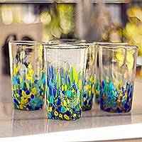 Recycled glass tumblers, 'Tropical Confetti' (set of 6) - Colorful Recycled Glass Tumblers (16 Oz., Set of 6)